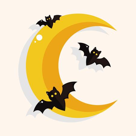 Halloween moon theme elements Illustration