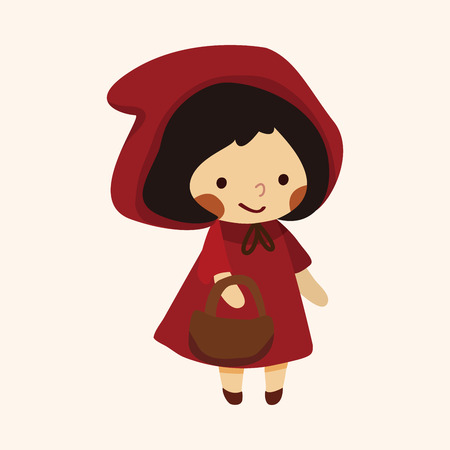 girl in red dress: fairytale princess theme elements Illustration