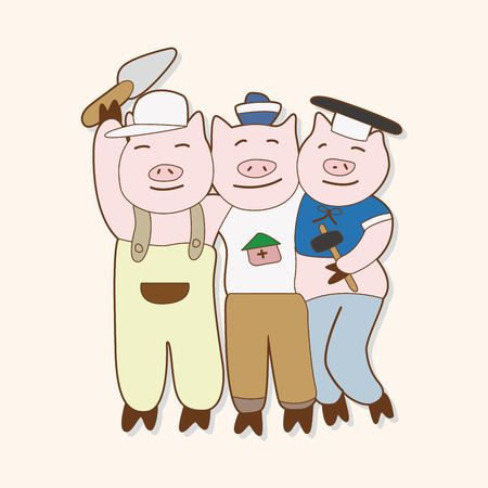 pig: Three Little Pigs theme elements Illustration