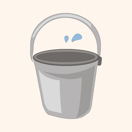 wooden bucket: water bucket theme elements Illustration