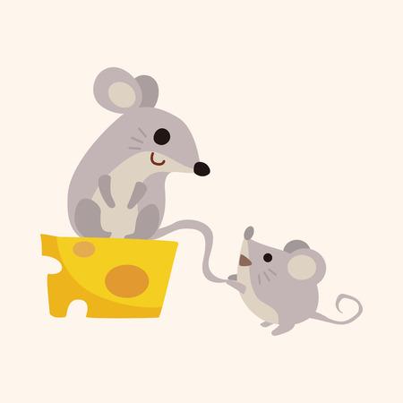 raton caricatura: Elementos del tema de dibujos animados del ratón animales Vectores