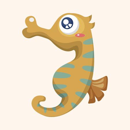hippocampus: sea animal hippocampus cartoon theme elements