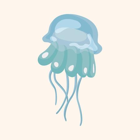 Elementos del tema de dibujos animados medusas de animales marinos