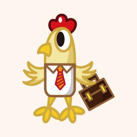 animal cock: Elementos del tema de dibujos animados trabajador gallo animales Vectores