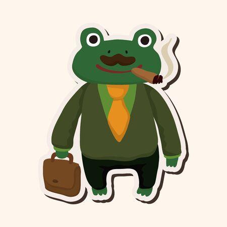 animal frog worker cartoon theme elements Vector