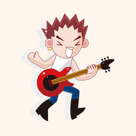 bass player: band member guitar player theme elements Illustration