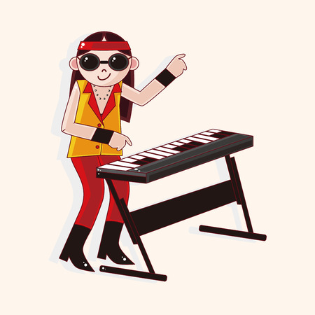 keyboard player: band member keyboard player theme elements Illustration