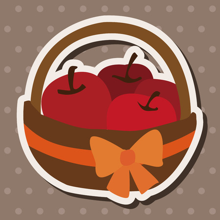 gift basket: apples in the gift basket flat icon elements,