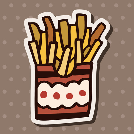 binge: fast food french fries flat icon elements, Illustration