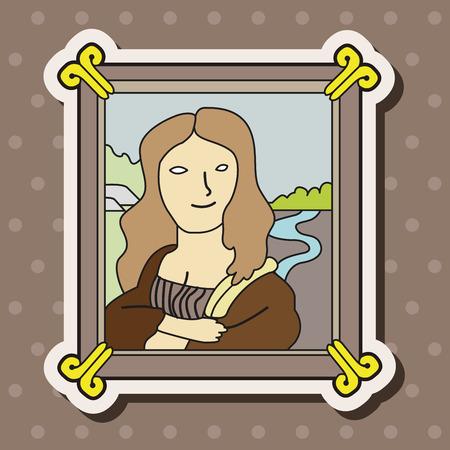 renaissance woman: painting mona lisa theme elements vector,eps