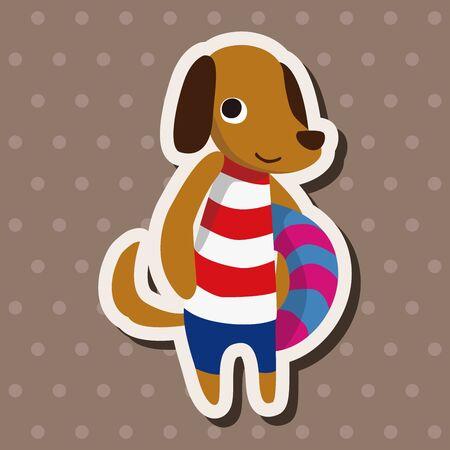 summer dog: summer animal dog flat icon elements background,