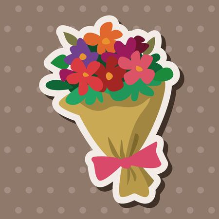 mazzo di fiori: Mazzo di fiori piatto icona elementi di sfondo,