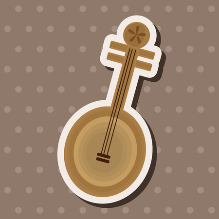 lute: music chinese lute theme elements vector,eps