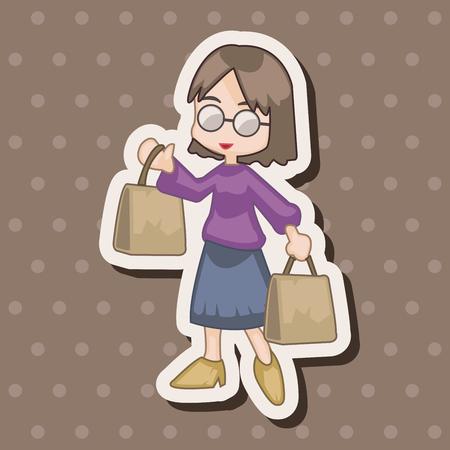 supermarket shopper: shopper theme elemets vector,eps