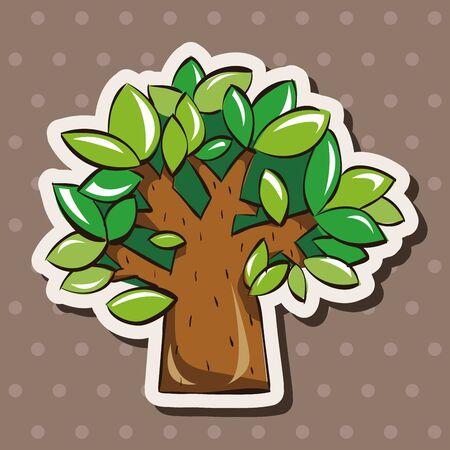 arboles de caricatura: elementos del tema del árbol de vectores, eps