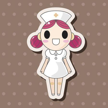 nurse cartoon: hospital theme nurse elements vector,eps Illustration
