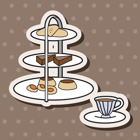 afternoon fancy cake: English Afternoon Tea theme elements vector,eps