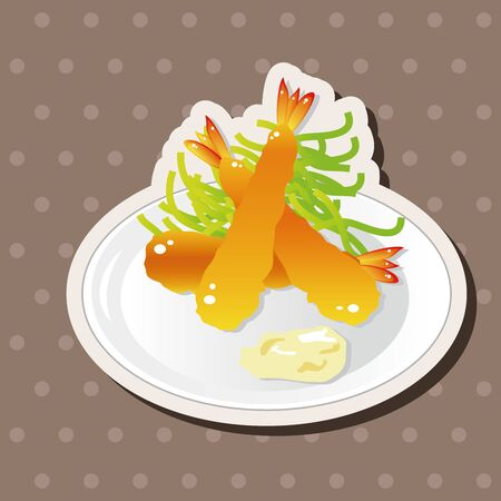 fried shrimp: japanese food theme Fried shrimp elements vector,eps