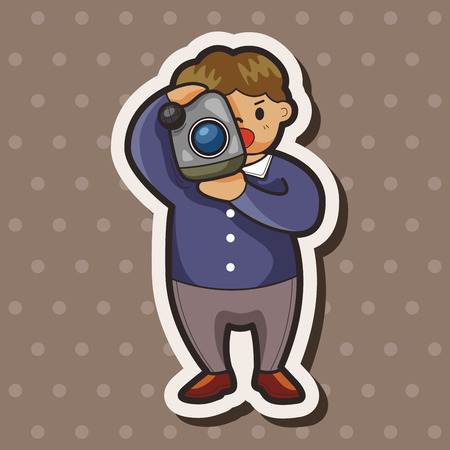 Reporter and photographer theme elements vector,eps Vector