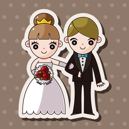 happy couple: wedding couple theme elements vector,eps