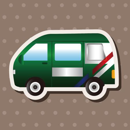 Transportu tematu urzędu pocztowego elementów samochodowy wektor, eps