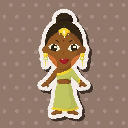 navratri: indian people theme elements Illustration