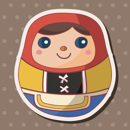 wooden doll: Matryoshka , Russian traditional wooden doll, theme elements