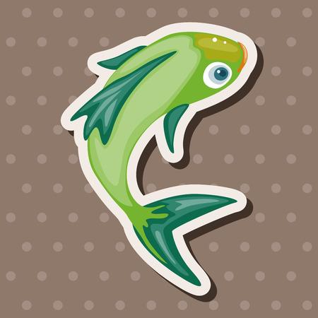 Elementos del tema de los peces Foto de archivo - 38499512