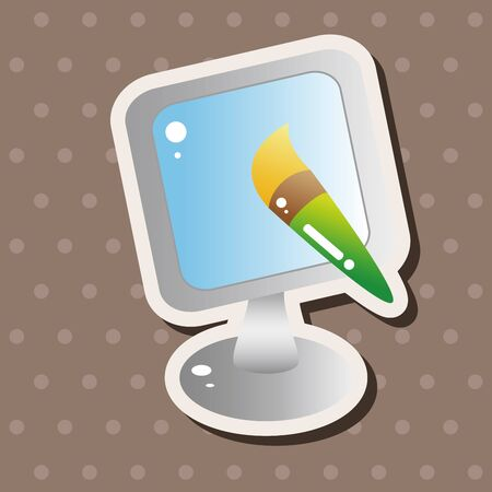 Computer-related desktop icon theme elements Vector