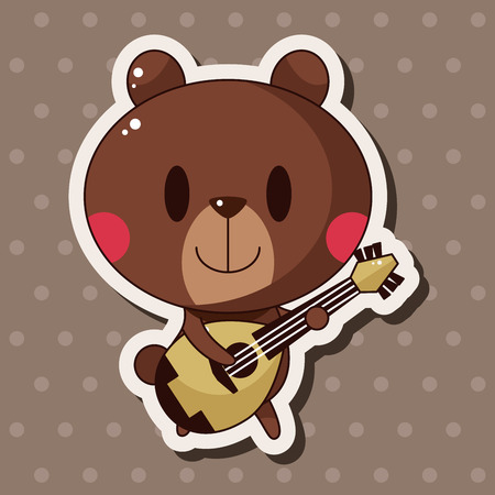 animal bear playing instrument cartoon theme elements Ilustração