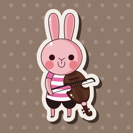 animal rabbit playing instrument cartoon theme elements Ilustração