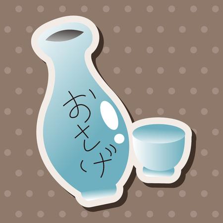 rice wine: Japanese wine theme elements Illustration
