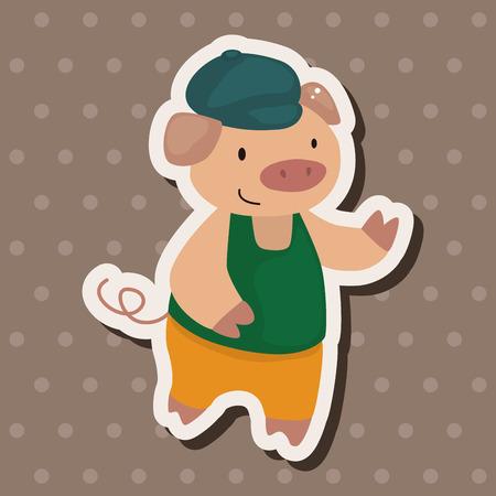 three little pigs: Three Little Pigs theme elements Illustration