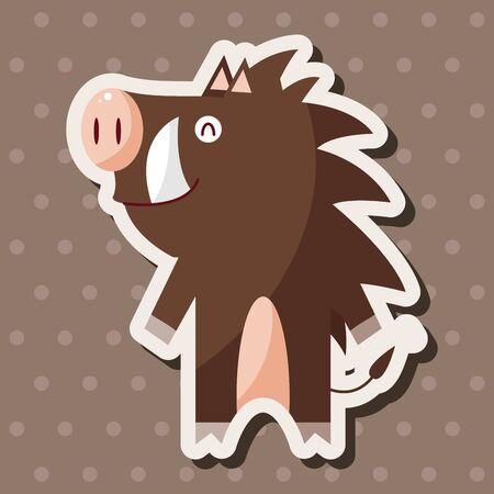 jabali: animales cerdo salvaje elementos temáticos de dibujos animados