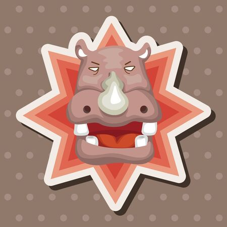hippo cartoon: animal hippo cartoon theme elements Illustration