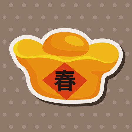gold ingot: Chinese New Year theme elements, Gold ingot means  wish good luck and fortune come.