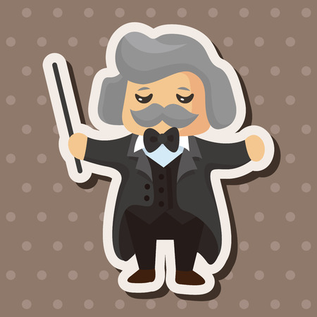 conductors: character musician conductor theme elements Illustration
