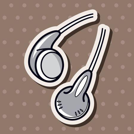 earphone: Computer-related equipment earphone theme elements Illustration
