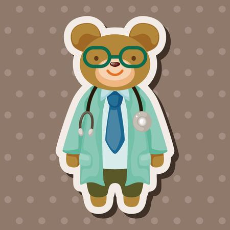 healthcare worker: animal bear doctor cartoon theme elements Illustration