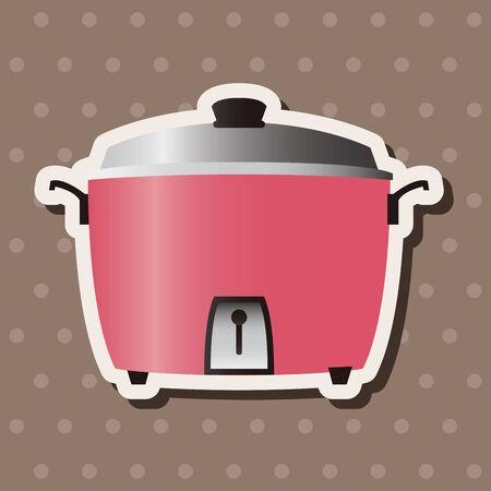 Home appliances theme rice cooker elements Vector