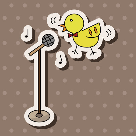 animal bird playing instrument cartoon theme elements Ilustração