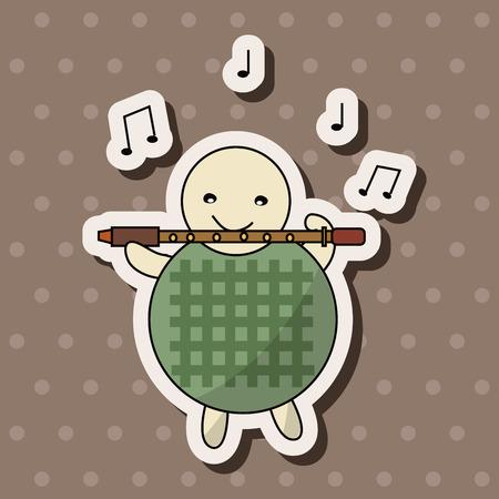 Tierschildkröte Instrument spielen Cartoon Thema Elemente Standard-Bild - 38524400