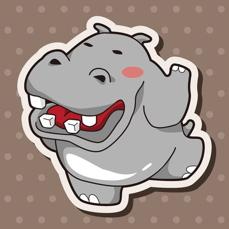 hipopotamo caricatura: Elementos del tema de dibujos animados hipop�tamo animales