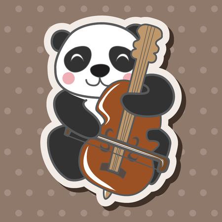동물 팬더 연주 악기 만화 테마 요소 일러스트