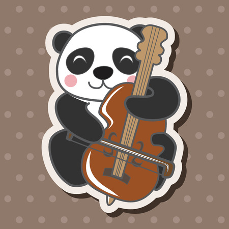 dier panda spelen cartoon instrument themaelementen