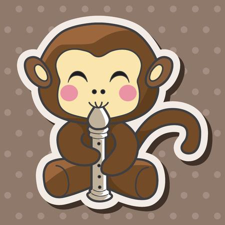 동물 원숭이 악기 만화 테마 요소를 연주 일러스트