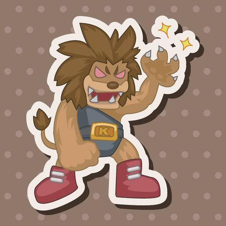 doing: Animal lion doing sports cartoon theme elements