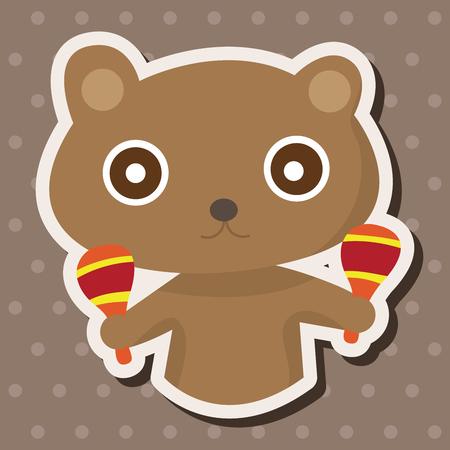 animal bear playing instrument cartoon theme elements Vector