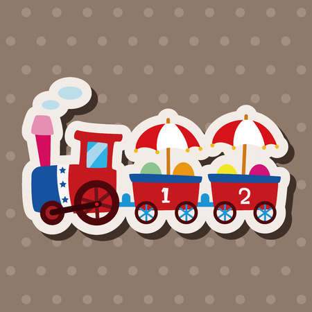 tren caricatura: Elementos de instalaciones temáticos parque de atracciones
