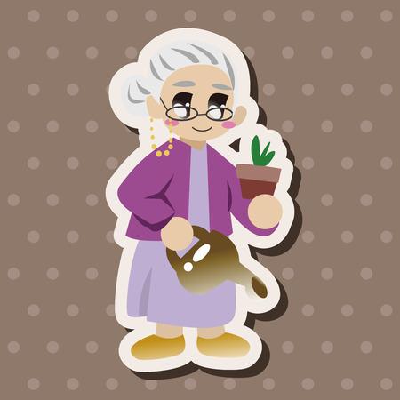Eléments de thèmes de caractère de grand-mère de la famille Banque d'images - 38524834